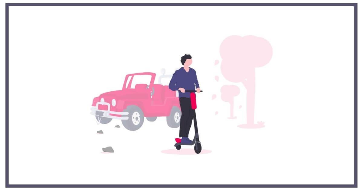 車からスクーターに乗り換える男性